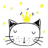 Cat in the crown. Cartoon kings cat with stars. Sleeping pet illustration Stock Photography