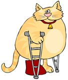 Cat On Crutches. This illustration depicts a cat with a cast on one leg and using crutches