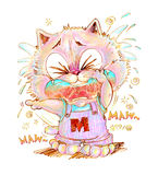 Cat crying and pointing pencil color Stock Photography