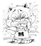 Cat crying and sue character pencil sketch design. Cat crying look very poor and sue, His finger pointing to some one made he crying, Cartoon cute character Royalty Free Stock Photos