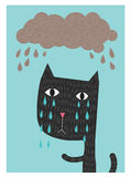 Cat Crying Under The Rain Photo libre de droits