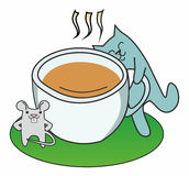 Cat and a cup of coffee. Cat prefers coffee instead of a mouse Royalty Free Stock Images