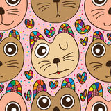 Cat cushion cute seamless pattern Stock Images