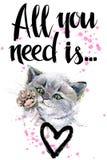 cat cute απεικόνιση γατακιών watercolor έγγραφο αγάπης καρτών ανασκόπησης grunge Στοκ φωτογραφία με δικαίωμα ελεύθερης χρήσης