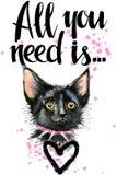 cat cute απεικόνιση γατακιών watercolor έγγραφο αγάπης καρτών ανασκόπησης grunge Στοκ Εικόνες