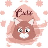 Cat cute animal cartoon. Cat cute cartoon on white and pink colors with floral background vector illustration Royalty Free Stock Photos