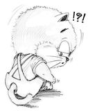 Cat cute cartoon feeling lonely and depressingly. Character design pencil sketch black and white Stock Photos