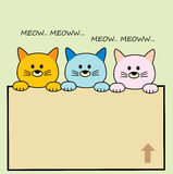 3 Cat Cute Cartoon. For website, t-shirt kids, drawing books. wallpaper bedroom Stock Photo