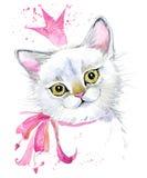 Cat. Cute cat. Watercolor Cat illustration. Birthday card. T-shirt print. Greeting card. Pet illustration. Poster illustration. Kitten royalty free illustration