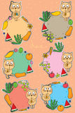 Cat cute drink fruit sticker label set Royalty Free Stock Images