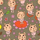 Cat cute element seamless pattern Royalty Free Stock Images