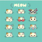 Cat cute emoji, smiley icons set. Vector, art, design, color vector illustration