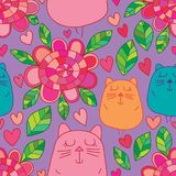 Cat cute flower colorful seamless pattern. This illustration is design cat cute flower colorful with seamless pattern in purple color background Royalty Free Stock Image