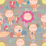 Cat cute fun orange yarn natural seamless pattern Stock Photo