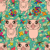 Cat cute happy seamless pattern Royalty Free Stock Image
