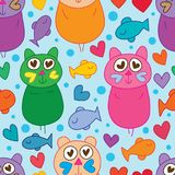 Cat cute like love fish design seamless pattern. This illustration is design cat cute like love with fish and bubbles decoration design in blue color background Stock Photography