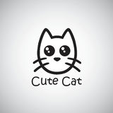 Cat Cute Logo Ejemplo negro del vector Fotografía de archivo libre de regalías