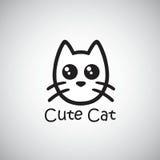 Cat Cute Logo Zwarte Vectorillustratie Royalty-vrije Stock Fotografie