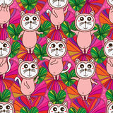 Cat cute standing seamless pattern Royalty Free Stock Photo