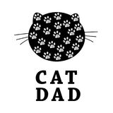 Cat Dad text with cat silhouette and paw prints. Happy Father`s Day greeting card. Background Royalty Free Stock Photography