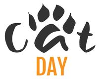 Cat day text feline footprint silhouette isolated on white Royalty Free Stock Photo