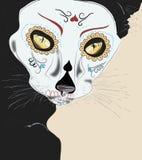 Cat de las muertos. Black cat in dias las muertos masc Stock Photos