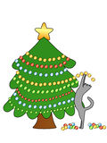 Cat decorating Christmas tree. A clip art illustration featuring a cat standing on his  back paws decorating a bright Christmas tree Stock Photography
