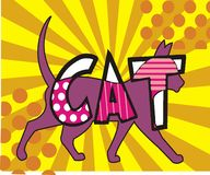 Cat decorative background pop art style with sunburst. And halftone vector illustration