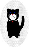 Cat design. Black funny cat with collar design royalty free illustration