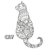 Cat. Design Zentangle. stock illustration