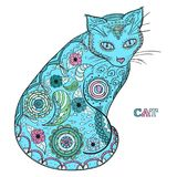 Art creative. Illustration. Cat. Design Zentangle. Hand drawn animal with intricate patterns on isolated background. Design for spiritual relaxation for adults royalty free illustration