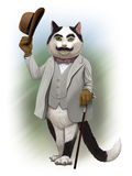 Cat detective Hercule Poirot. Humorous picture cat detective Hercule Poirot Stock Photos