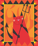 Cat Devil. Devil cat is smiling by holding the trident Stock Photography