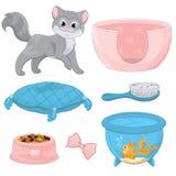 Cat With Different Toys And tillbehör Arkivbilder