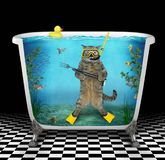 Cat diver underwater in the bathtub. The cute cat diver with a speargun is underwater on the seabed in the bathtub against the background of fish vector illustration
