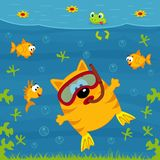 Cat diver. Vector illustration Stock Photography