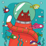 Cat in diving suit on the bottom of aquarium Royalty Free Stock Images