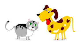 Cat and dog. Funny  illustration depicting a cat and a dog Royalty Free Stock Photos