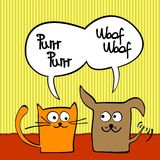 Cat and dog. Cute cartoon cat and dog with speech bubble