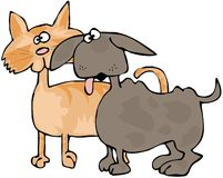 Cat And Dog. This illustration depicts a goofy looking orange cat and brown dog Royalty Free Stock Image