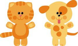 Cat and Dog. Little kitten and puppy toys Stock Images