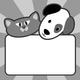 Cat and Dog. Blank sign with a cartoon dog head and cat head ideal for pet supplies, Vet, animal boarding or greeting card Stock Photography