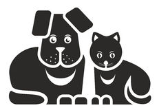 Cat and dog. Stylized illustration of cat and dog as pets Royalty Free Stock Photos