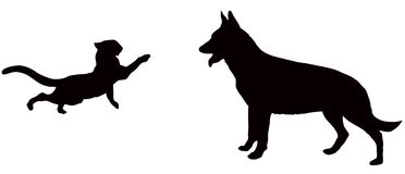 Cat and dog. Vector image shows a cat attacks a dog as silhouette Royalty Free Stock Photography