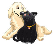 Cat and dog. Lovely cat and dog, vector image, software: Illustrator Stock Photos