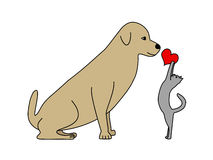 Cat and Dog. Illustration of a cat giving a red heart to a dog isolated on white background Royalty Free Stock Photos