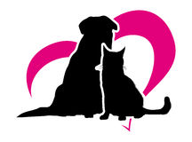 Cat and dog. On the background of magenta heart Royalty Free Stock Photography