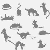 Cat and dog background. Dog and cat shadows at gray background vector illustration
