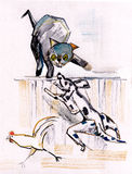 Cat and dog. Battle between old enemies, cat and dog stock illustration