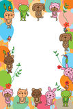 Cat dog bear frog rabbit mouse frame Stock Images